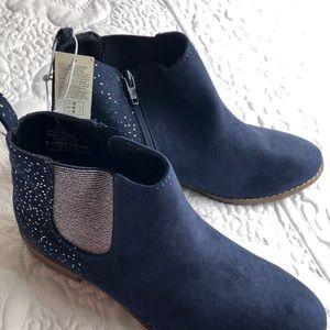 Navy Blue Glitter Girls Boots